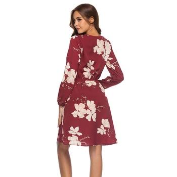 GOPLUS Boho Floral Print Chiffon Dress Women Sexy Cross V Neck Long Sleeve Midi Dress Lady 2020 Summer Elegant Vestidos Female 1