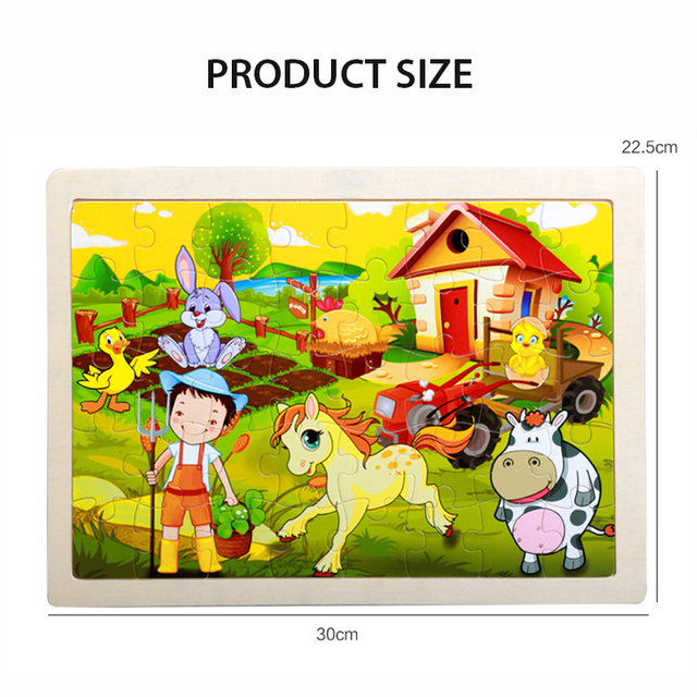 40 Pieces Kids Wooden Puzzle Board Toy Fun Cartoon Animal Jigsaw Boy Girl Baby Early Educational Learning Toys for Children Gift 6
