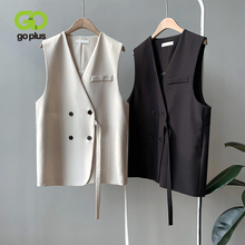 GOPLUS Autumn Vest Women Vintage V-neck Double Breasted Short Loose Vests Womens Chalecos Para Mujer Kamizelka Damska C8261