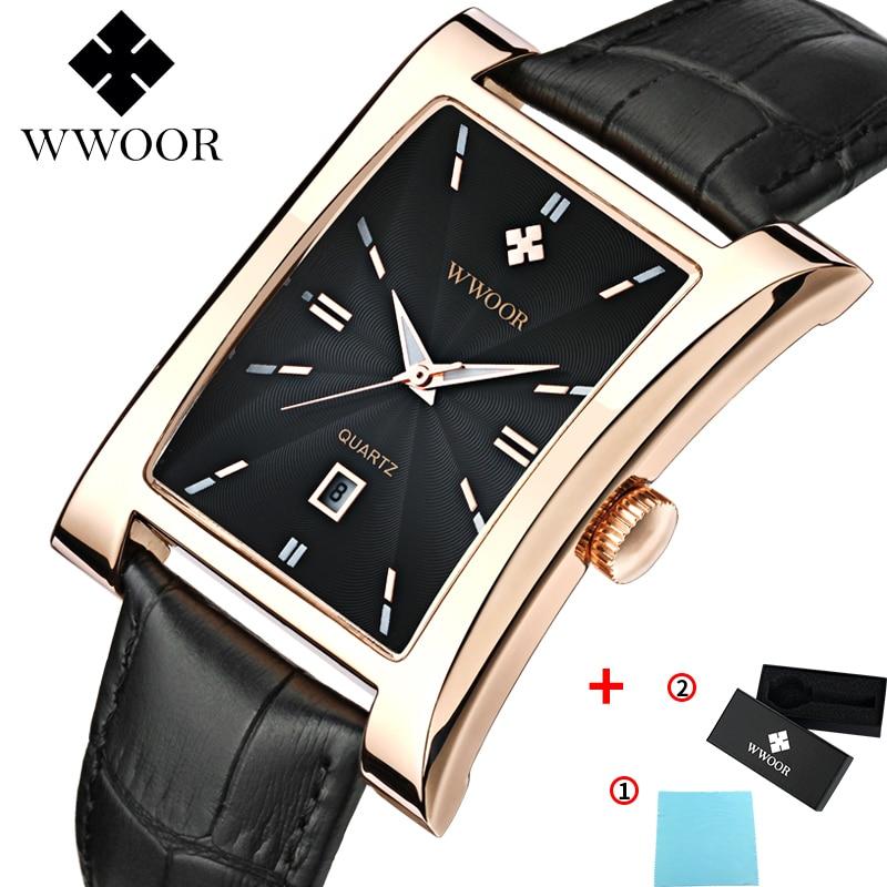 WWOOR Watch Men Top Brand Luxury Gold Black Square Watches For Men Leather Waterproof Date Clock Business Quartz Wrist Watch Box 7