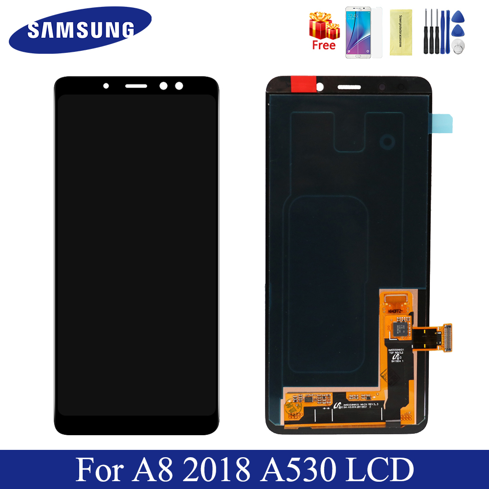 """Original For 5.6"""" Samsung A8 2018 A530 LCD Display Screen+Touch Screen Panel Digitizer Assembly Replacement-in Mobile Phone LCD Screens from Cellphones & Telecommunications"""