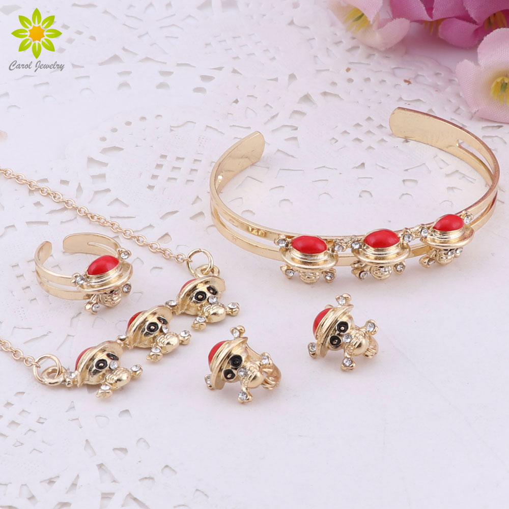 Gold-Color Baby Jewelry Set Gift Children Cute Skull Pendant Jewelry Sets Kids Jewellery Ring Earring Bracelet Necklace
