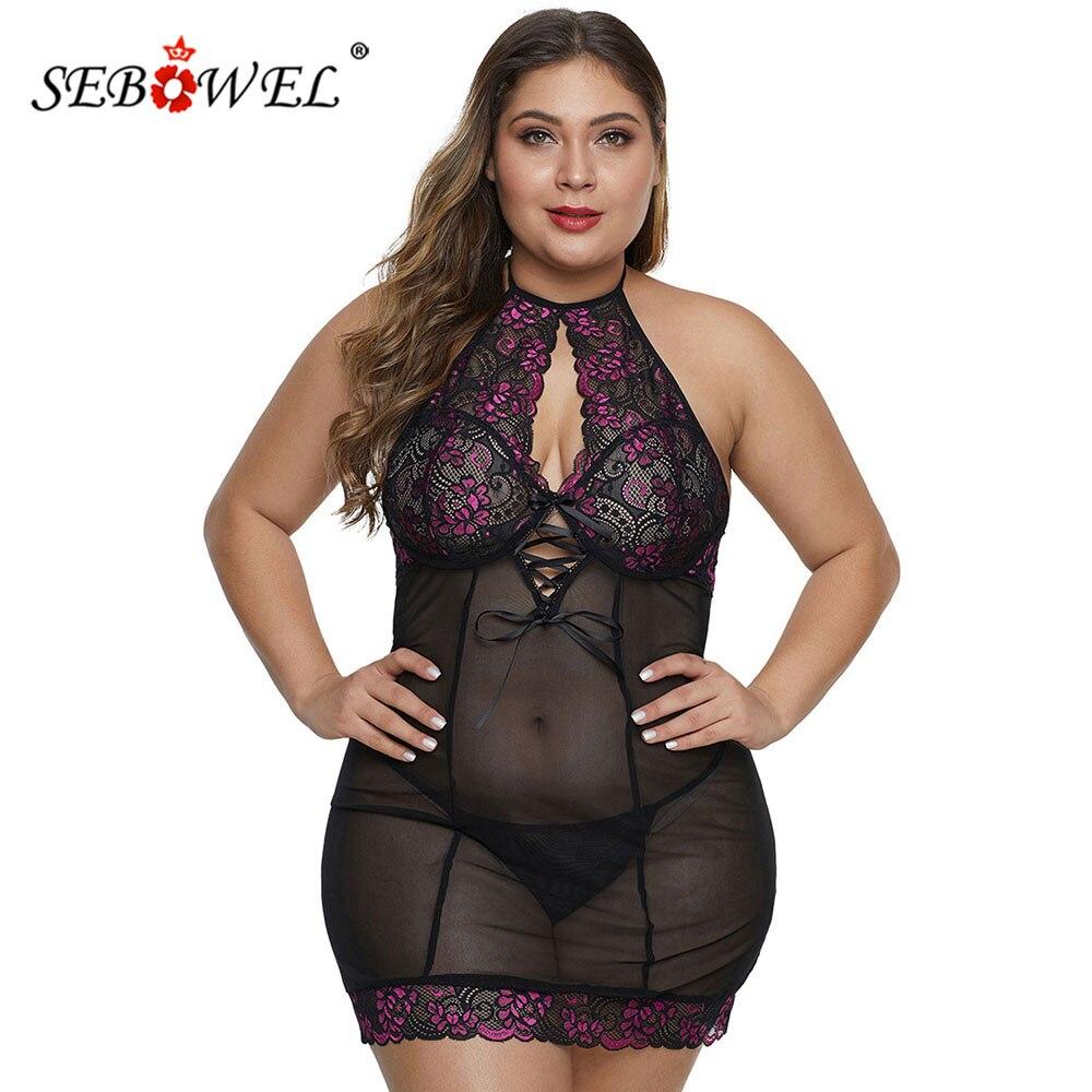 SEBOWEL Plus Size Floral Lace Woman's Lingerie Sets Black/Purple Sheer Mesh Ribbon Halterneck Dresses + Thong 2 Pieces Nightgown