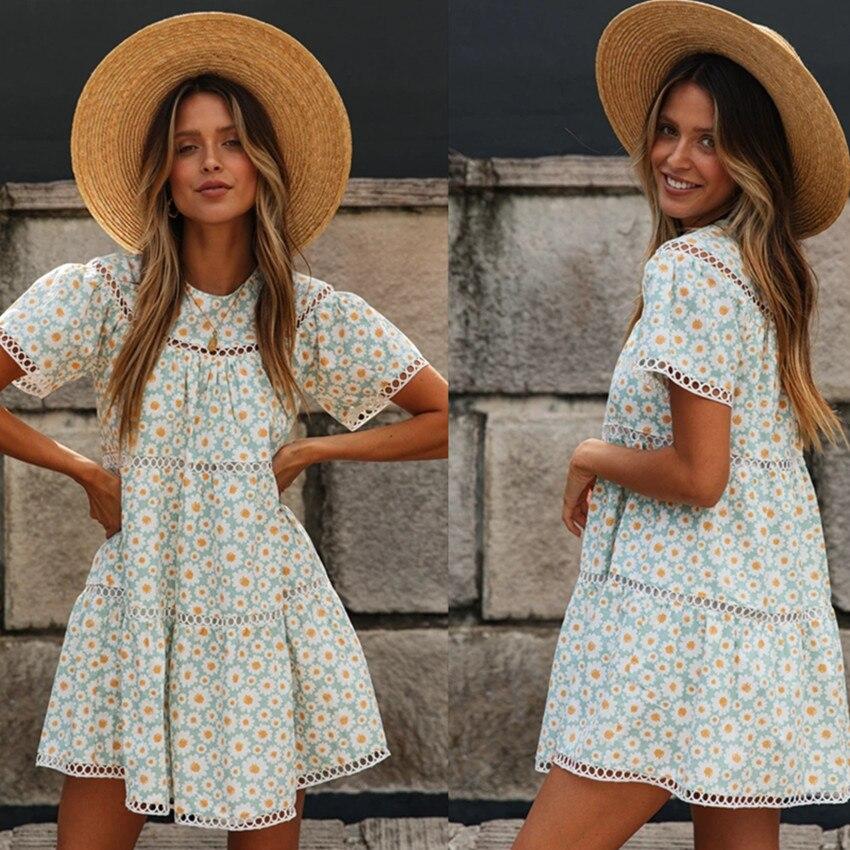 Short Sleeve Casual Summer 2020 Floral Mini Woman Dress Vestidos Robe Femme Flower Ladies Dresses Sundress Womens Clothing New