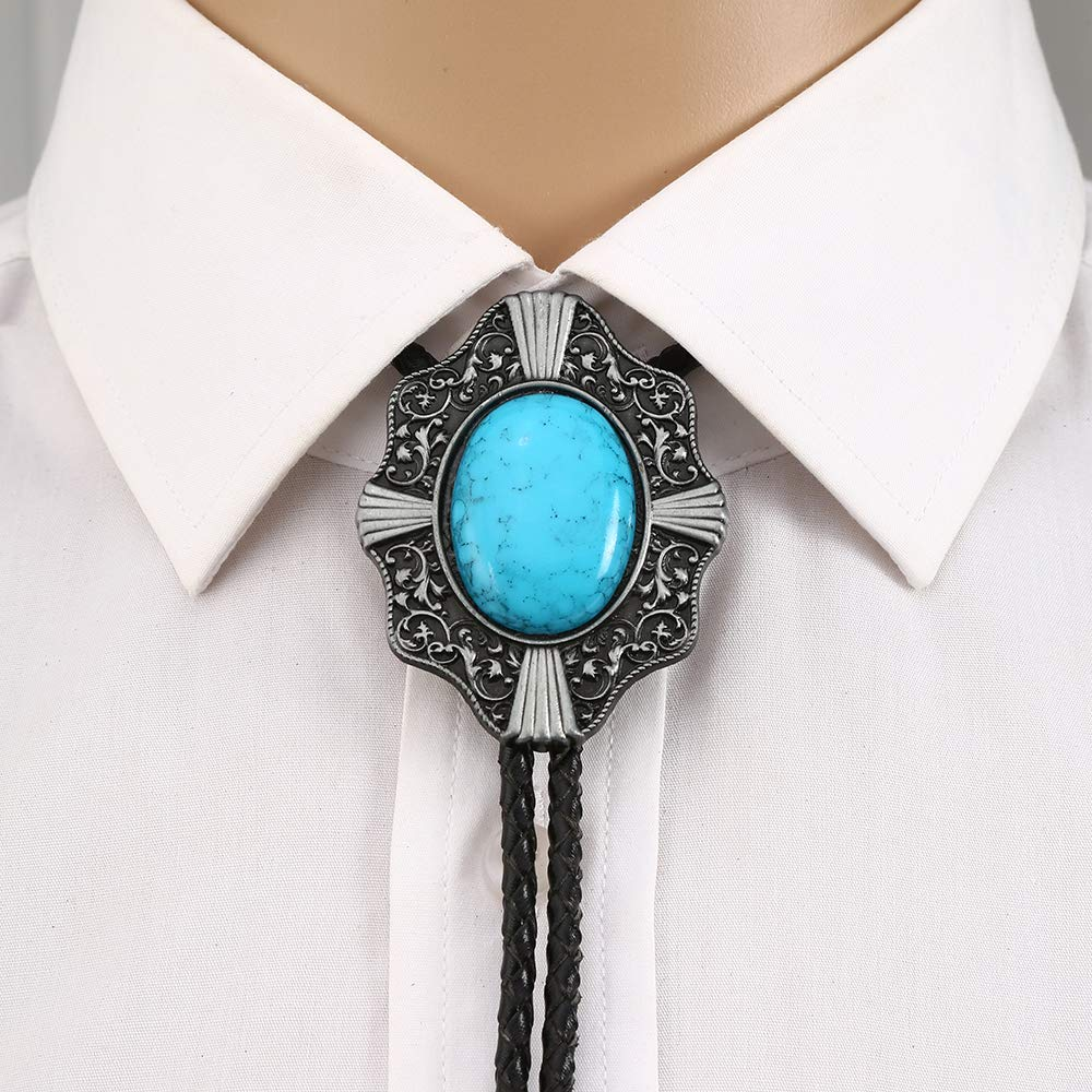 Blue Turquoise Bolo Tie For Man Handmakde  Indian Cowboy Western Cowgirl  Zinc Alloy Necktie