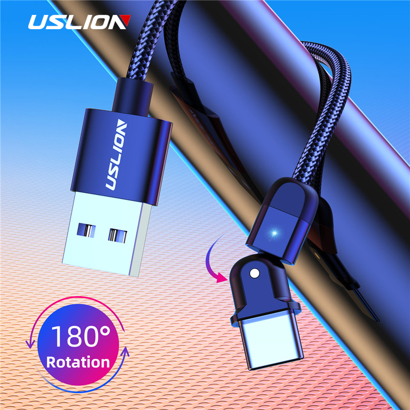 USLION 180 Degree Rotate LED USB Type C Cable 3A Fast Charging Wire Cord USB Cable For Samsung Huawei P30 Mobile Phone Data Line