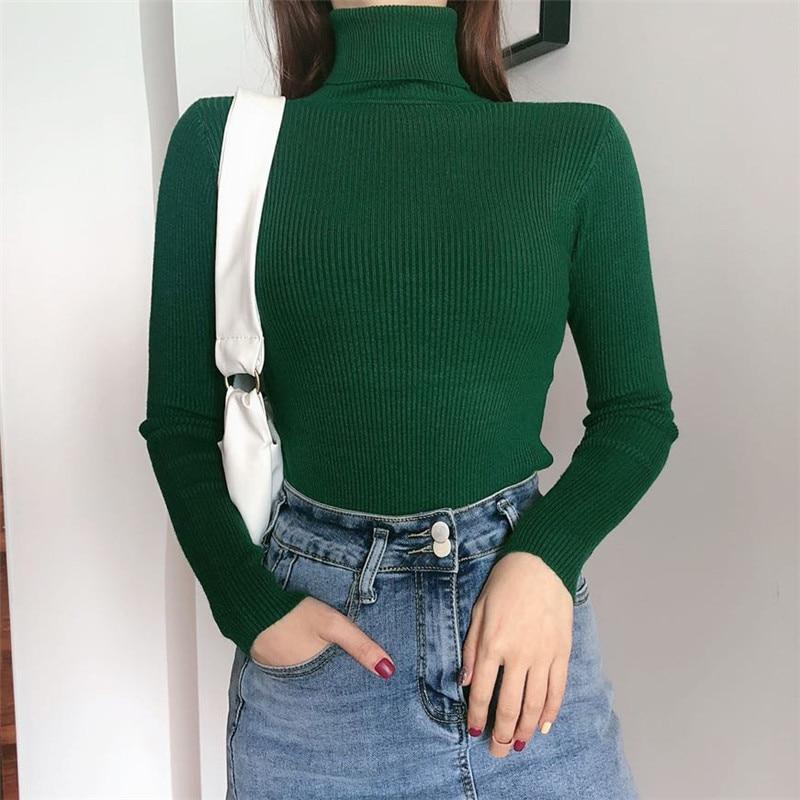Women Turtleneck Sweaters Autumn Winter Korean Slim Pullover Women Basic Tops Casual Soft Knit Sweater Soft Warm Jumper 4