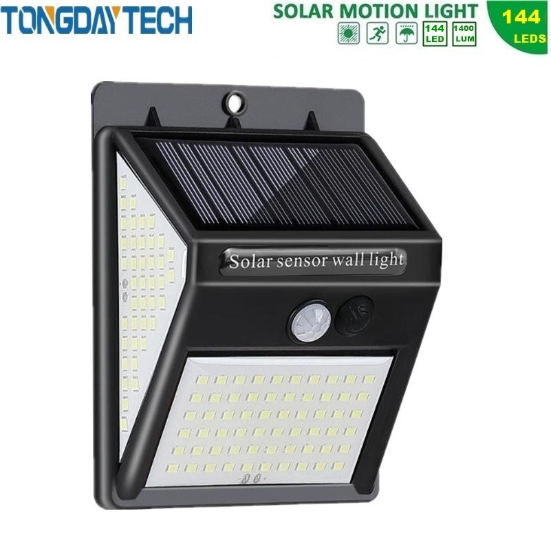 TONGDAYTECH 144 LED Solar Light Outdoor Solar Lamp PIR Motion Sensor Wall Light Solar Powered Garden Light Waterproof IP65