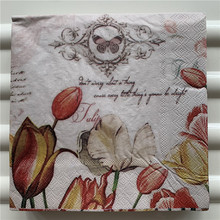 Servilletas de papel Vintage para mesa Rosa tulipán rojo decoupage de flores boda cumpleaños fiesta servilletas Banque cena decorativ
