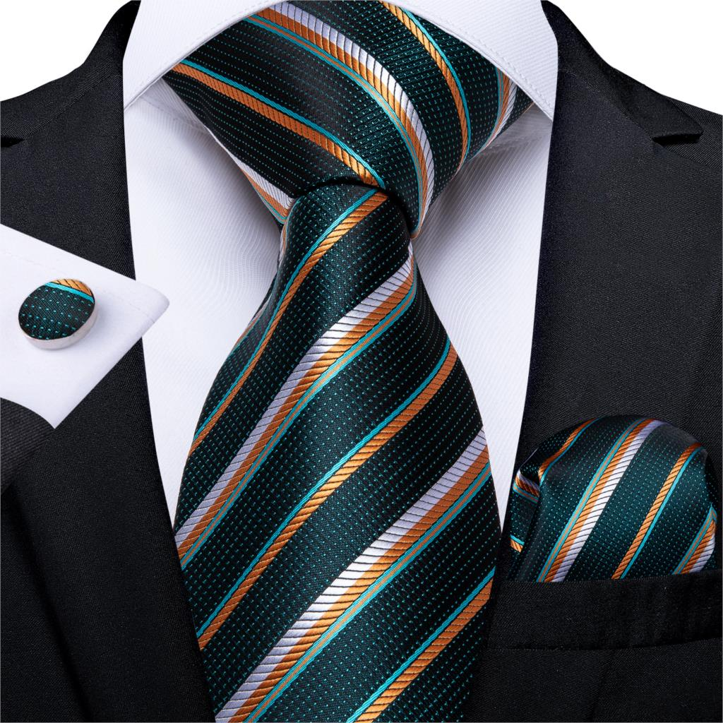 Fashion Men Tie Green Gold Striped Silk Wedding Tie For Men Hanky Cufflink Gift Tie Set DiBanGu Novelty Design Business MJ-7301