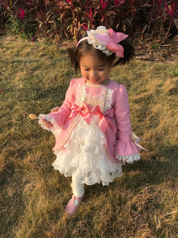 Girl Winter Spring Autumn Wool Pink Long Sleeve Vintage Spanish Lolita Princess Ball Gown Dress for Girl Birthday Eid Casual 5