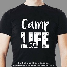 Camping vie Silhouette texte RV tente remorque t-shirt(China)