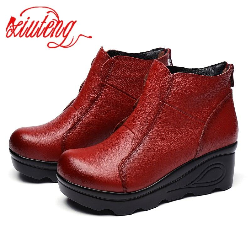 Xiuteng/Зимние ботильоны на молнии на платформе; женские ботинки; женская обувь высокого качества, визуально увеличивающая рост; модные ботинки из коровьей кожи|Полусапожки|   | АлиЭкспресс