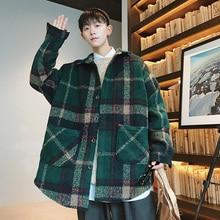 Woolen Coat Men Fashion Retro Casual Tartan Jacket Streetwear Loose High Quality Overcoat Man Jackets