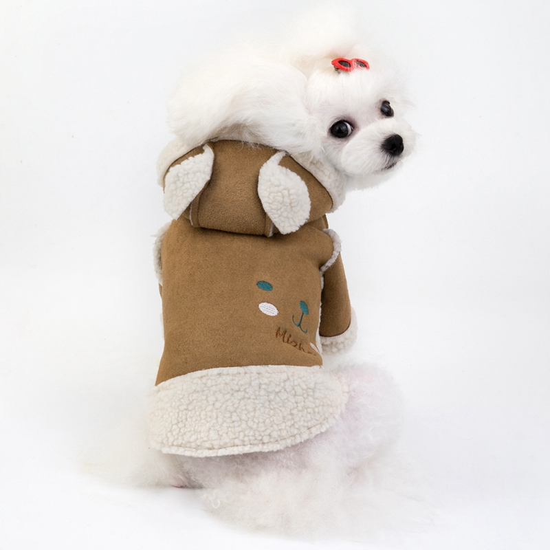 Winter Dog Clothes Warm Pet Motorcycle Coat French Bulldog Chihuahua Clothing Pup Cat Hoodies Cute Litter Bear Fleece Jackets in Dog Coats Jackets from Home Garden