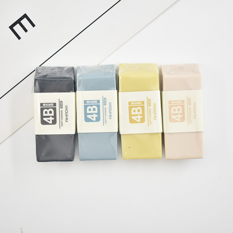 1PC Cute Solid Color Rubber Erasers Kawaii 4B Art Pencil Erasers For Kids School Office Supplies Stationery