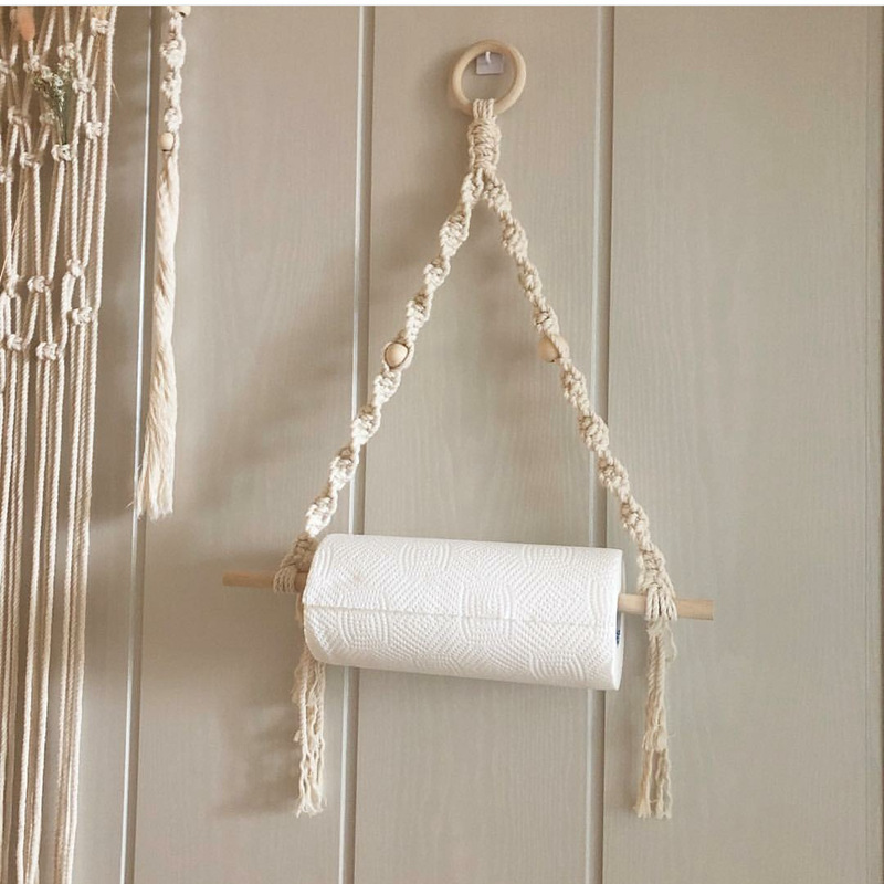 Nordic Wall Hangs Wooden Stick Bedroom Sitting Room Adornment To Braid By Hand Decoracion Del Hogar Paper Towel Holder