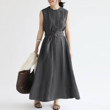 Women Casual O Neck Sleeveless Sundress ZANZEA Summer Elegant Work OL Solid A-line Party Dress Loose Maxi Vestidos Sarafans 5XL