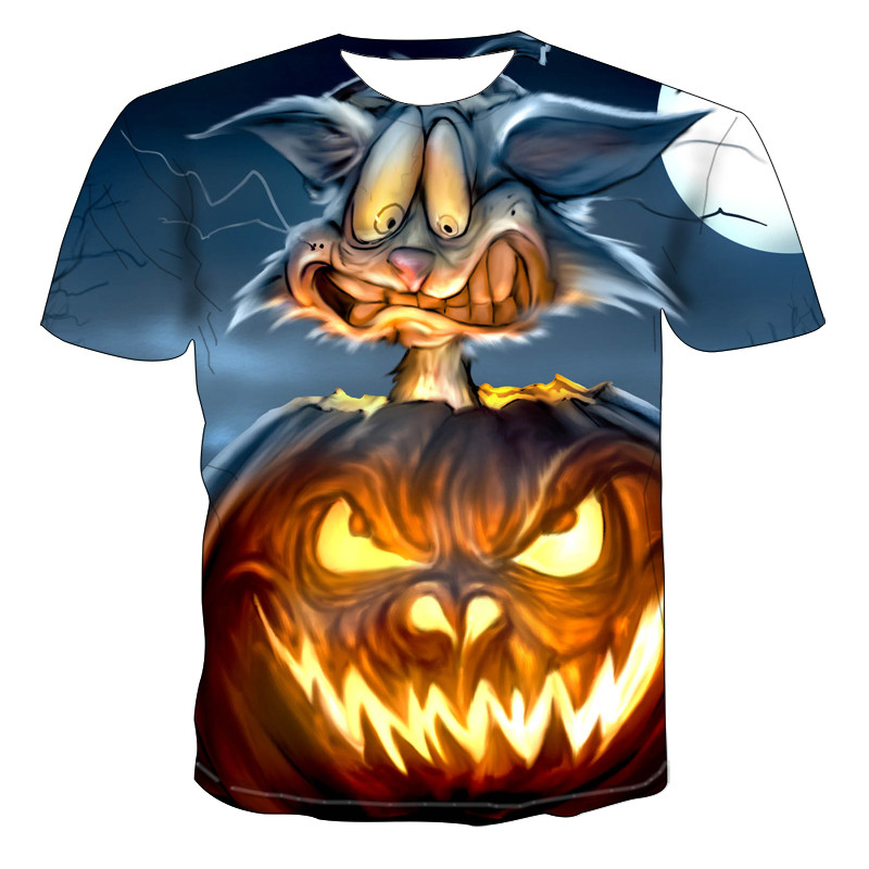 3d Hip Hop Men Tshirt Gothic Pumpkin Lantern Finger Short Sleeve Casual Summer Tops Skull 3D Print T-shirt For Men