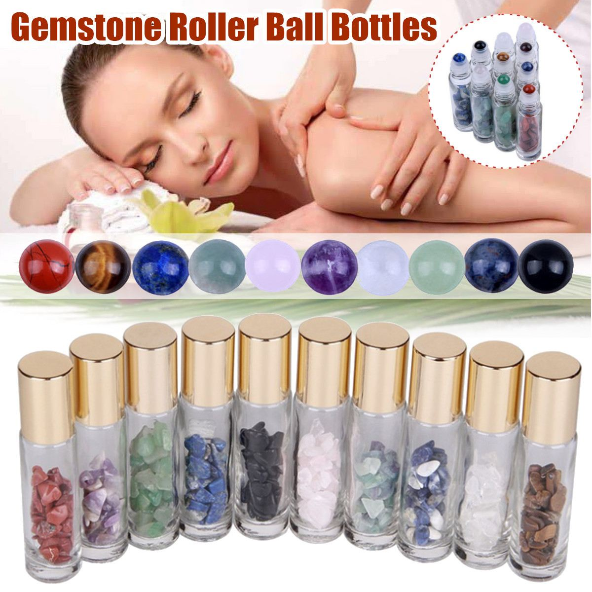 10Pcs 10ml Natural Gemstone Essential Oil Roller Ball Bottles Transparent Perfumes Oil Liquids Roll On Bottles With Crystal Chip