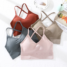 Women Tank Crop Top Seamless Underwear Sexy Lingerie Female Camis Cross Backless Tops Padded Camisole Femme