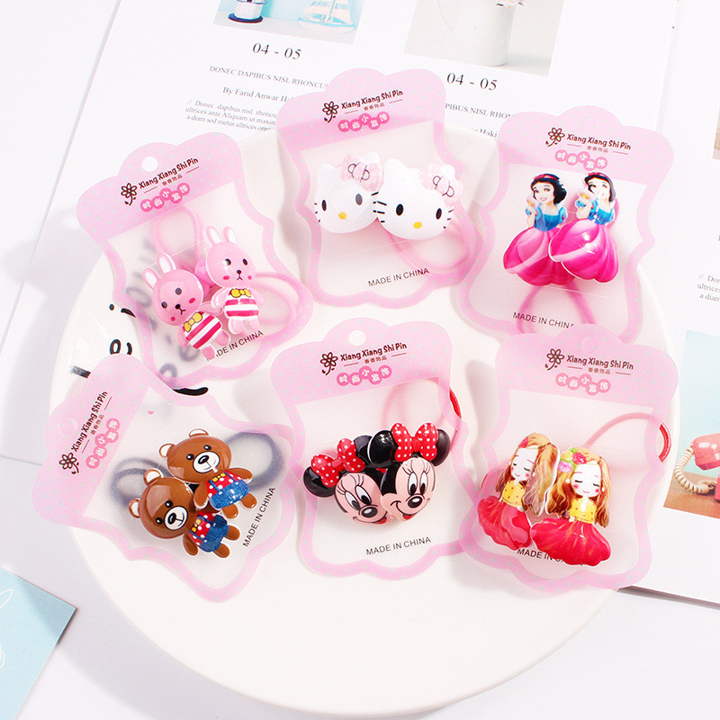 2pcs/Lot New Packed Girls Cute Cartoon Elastic Hair Bands   Headwear   Scrunchies Rubber Bands Headbands Hair Accessories