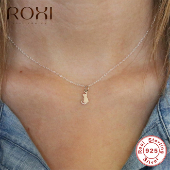 ROXI 100% 925 Sterling Silver Necklace Women Cute Cat Pendant Necklace Long Chain Statement Necklace Choker Wedding Jewelry Gift bamoer fashion genuine 925 sterling silver cute pet pussy cat chain pendant necklace for women sterling silver jewelry scn232