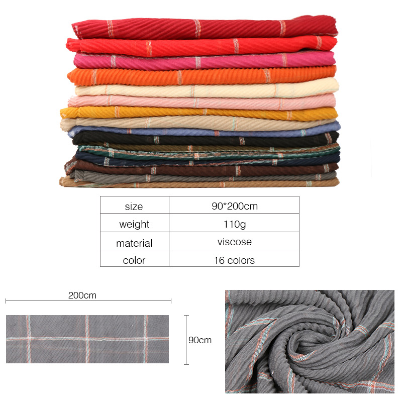 Wrinkle plaid viscose hijab scarf shawls pleat drape muslim scarves wrap headband 16 color scarves/scarf 200*90cm