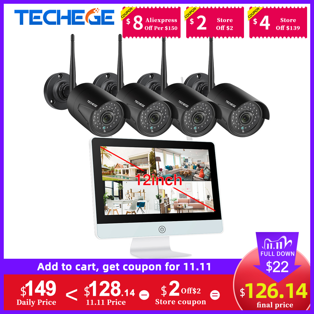 Techege 8CH 1080P Wireless NVR Kit 12inch LCD Monitor 2MP Wifi IP Camera Audio CCTV Camera Home Security System Surveillance Kit