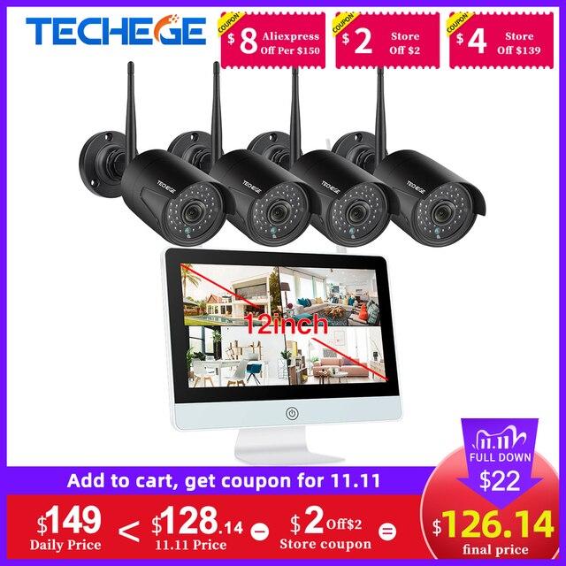 """Techege Monitor LCD de 12 """", cámara IP de 2MP, Wifi, CCTV de Audio, Kit de vigilancia de sistema de seguridad para el hogar, 8CH, 1080P, Kit NVR inalámbrico"""
