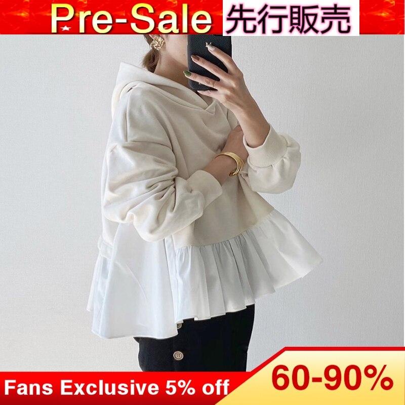 Korean Women Spring Hoodies Loose 2020 Casual Simple Nine Points Sleeve Tops Sweatershirts Janpanese Female Girls  Hoodies