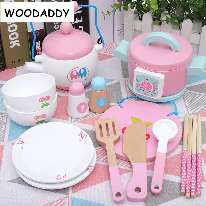 Dropshipping Pink Strawberry Simulation Cake Morning/Afternoon Tea Set Dessert Cutting Wooden Toys For Kids Children Educational
