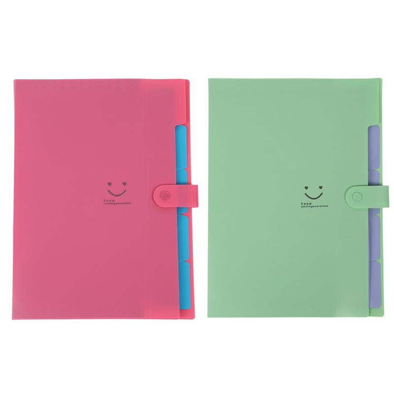 2pcs Plastic Expanding File Folders Accordion Document Organizer 5-Pocket A4 Letter Size - Rose Red & Green