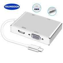 Tromsoon tipo-c para hdmi-compatível vga dvi usb c 3.0 adaptador para macbook samsung dex s9 huawei p40 xiaomi 10 tv ps4 monitor