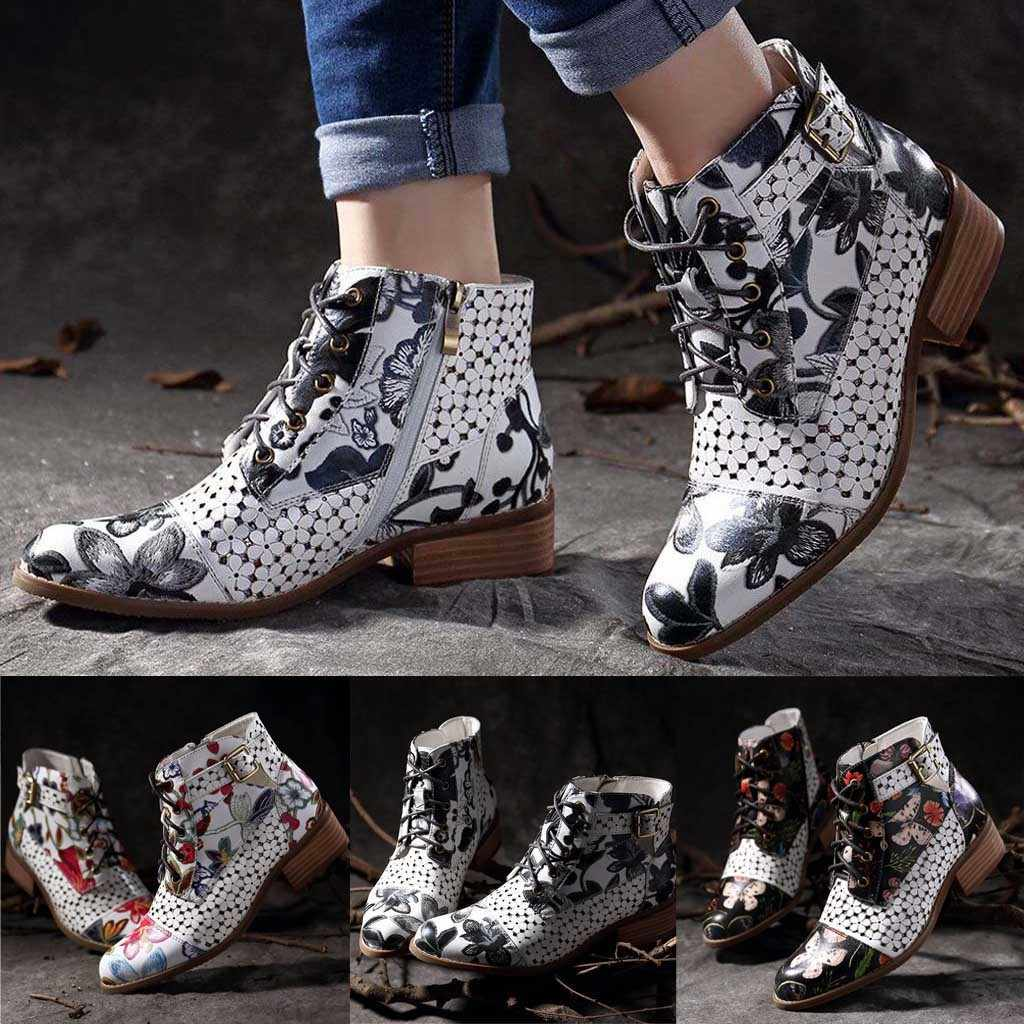 SAGACE ayakkabı çizme kadın botları kış botu ayakkabı kadın kış botu s eğlence çiçek desen inek deri ayakkabı çizmeler kadınlar için
