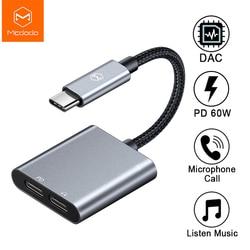 Mcdodo 60W PD USB-C Dual tipo-C de auriculares de Audio Digital adaptador DAC de alta fidelidad Aux Cable para IPad Pro Macbook Samsung S10 Nota 10 9