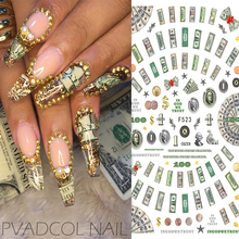 Nails Sticker Money Dollar Wealthy Rich Style Nail Art Stickers Decals Manicure Tip Decal Self Adhesive Acrylic Tips Tool