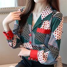 Korean Fashion Women Shirts Woman Chiffon Blouses Shirt Elegant Print Plus Size Womens Tops and