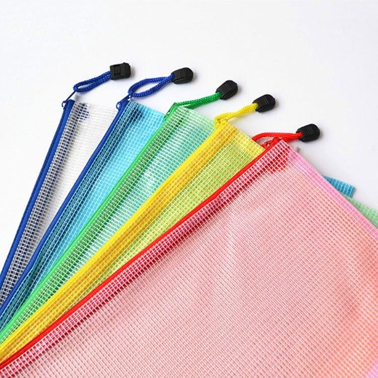 10Pcs Random Colors A4 Plastic Bag File Folder Document Filing Bag Stationery Bag School Office Supplies