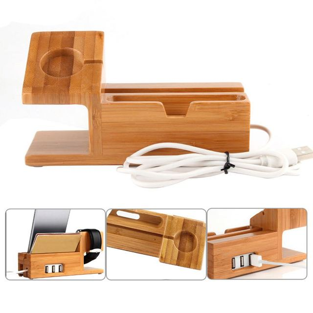 Bamboo Charging Charger Station Dock Stand Holder With 3 Usb Hub Port Cable For Apple Watch  Iphone 8 X 7 6 6S Plus