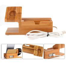 Bamboo Charging stacja ładująca stojak dokujący uchwyt z 3 portami Usb Hub kabel do Apple Watch Iphone 8X7 6 6S Plus