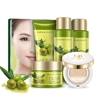 Olive Face Care Sets, Refreshing Cleanser+Smoothening Toner+Moisturizing Emulison+Hydrating Cream+BB Cream, Skin Whitening фото