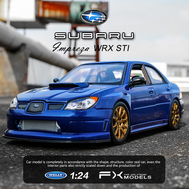 WELLY 1:24   Subaru - Impreza Dark Blue  Alloy Car Model Simulation Car Decoration Collection Gift Toy Die Casting Model Boy Toy