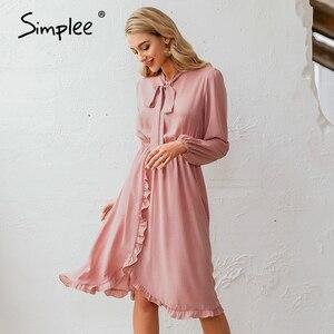 Image 5 - Simplee אלגנטי v צוואר מנוקדת שמלה סקסי צווארון v פנס ורוד שמלת Loose חג סתיו נשים שיק קשת ארוך המפלגה שמלת 2019