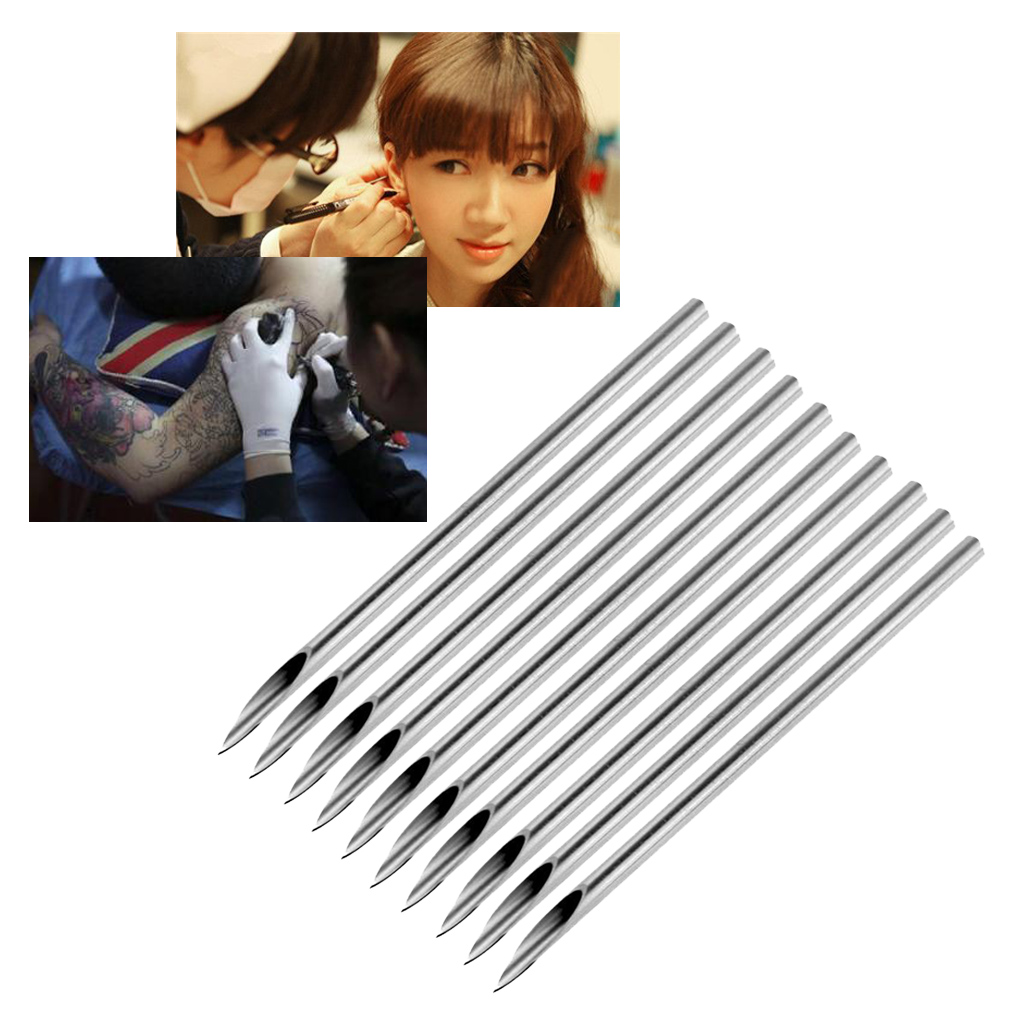 10pcs Surgical Steel Tatto Piercing Needles Medical Tattoo Needles For Navel Nose/Lip/Ear Piercing 35g (4.8mm)