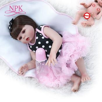 48CM bebe doll reborn toddler baby girl doll big eyes sweet face very soft flexible full body silicone bath toy waterproof