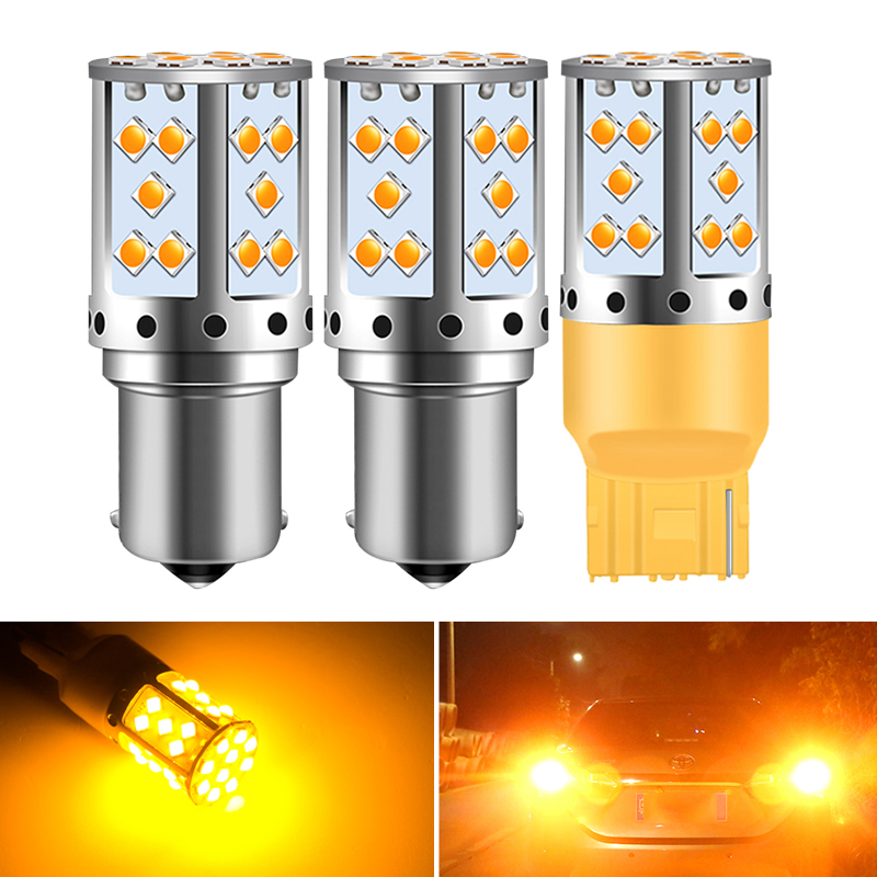 2X BA15S P21W 1156 <font><b>LED</b></font> 7440 W21W <font><b>LED</b></font> Bulb BAU15S Auto Signal Lamp Brake Reverse Car <font><b>Light</b></font> orange for <font><b>Peugeot</b></font> 206 407 508 <font><b>308</b></font> image