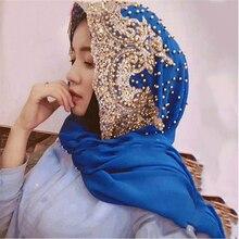 Prezzo allingrosso Hijab Musulmano Islamico Sciarpe Sciarpa per la Donna Lungo Underscarf Hijab Solido di Colore con Perline di Preghiera Turbante