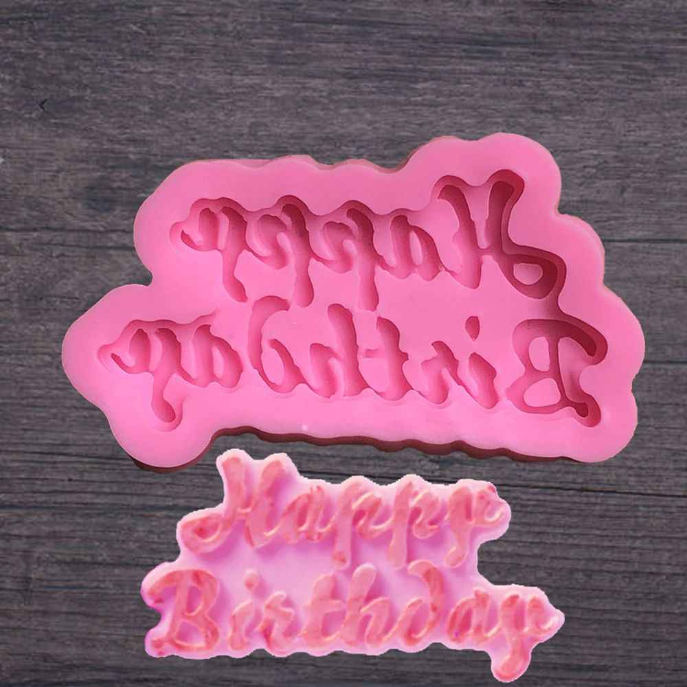 1pc Happy Birthday Silicone Mold DIY Bakeware Fondant Muffin Chocolate Molds Cupcake Baking Dish Cake Decorating Tools