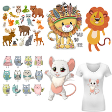 Animal Patches Heat Transfer DIY Iron-on Transfers Parches For Clothing Washable Stickers Forest Cartoon